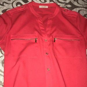 Calvin Klein coral button down long sleeve blouse